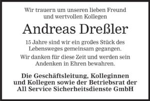 Traueranzeige Andreas Dreßler